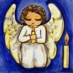 Illustration of an angel praying by candlelight.